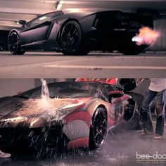 Lamborghini Aventador's Trick Paintjob. In cold temperatures, or when cold water is applied, this Aventador keeps its sinister appearance, but heat it up or splash some warm water on it, and an incredible Iron Man-themed livery bursts through the matte-black paint.Its paintjob is the latest creation of German graffiti artist, Rene Turrek, who also did a similar Captain America paintjob for a Lamborghini Gallardo. The paint job cost is around $35,000.