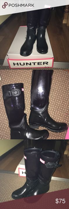 Hunter Rainboots Authentic, midnight blue, see through calves, good condition. Note: small hole in the left boot as shown in the pics.... comes with boot shiner as a bonus Hunter Shoes Winter & Rain Boots