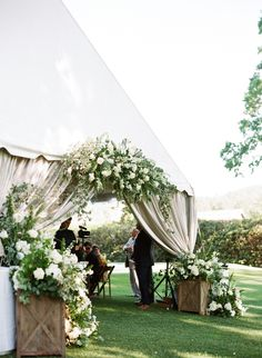 This gorgeous southern wedding in the mountains of North Carolina features a luxe tented ceremony and a lush floral wedding arch made up of white hydrangeas, peonies and garden roses. Also their sweet dog makes an appearance so you know we are in love! Marquee Wedding, Wedding Venues, Wedding Aisles, Arch Wedding, Wedding Lighting, Event Lighting, Wedding Ceremonies, Wedding Reception, Destination Wedding
