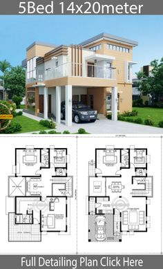 Home Design Plan with 5 Bedrooms is part of Home design plan - Home Design Plan with 5 Bedrooms House descriptionOne Car Parking and gardenGround Level Living room, 2 Bedrooms, Dining room, Kitchen House Plan With Loft, Model House Plan, House Floor Design, Dream Home Design, House Plans Mansion, Dream House Plans, Bungalow Haus Design, Casas The Sims 4, Beautiful House Plans
