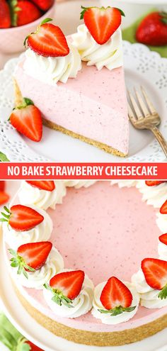 This No Bake Strawberry Cheesecake is full of flavor and uses both gelatin and a cooked strawberry mixture to make a thick and creamy cheesecake! Both the flavor and texture are wonderful and it's the perfect cheesecake for spring and summer!