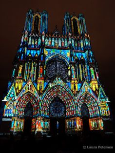 Reims Notre Dame Cathédrale, France at night during the Rêves de Couleurs show.