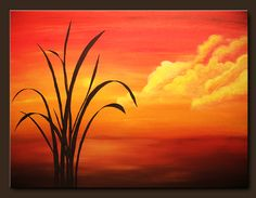 Landscape Abstract Paintings – Sunset Palm | Abstract Art Blog
