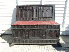 ARCA, CAJA DE NOVIA CATALANA DE VIC S. XVII , PARA RESTAURAR (Antigüedades - Muebles Antiguos - Baúles Antiguos)-690€
