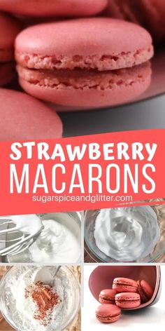 A naturally flavored Strawberry Macaron recipe with tips to help you conquer these notoriously difficult cookies! The perfect Valentine's Day cookie recipe Strawberry Macarons Recipe, Best Macaron Recipe, Strawberry Recipes, Strawberry Cookies, Macaroon Filling, Macaroon Cookies, Shortbread Cookies, Macaroons Flavors, French Macarons Recipe Flavors