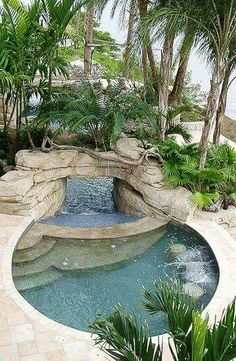 Spa Waterfall Slide to Main Pool - i need this in my backyard! Pool Spa, Small Pools, Small Pool Ideas, Beautiful Pools, Dream Pools, Jacuzzi, Pool Houses, Pool Designs, Outdoor Pool