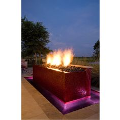 Fire pit/fountain with glass tile. Outdoor Spaces, Outdoor Living, Outdoor Decor, Glass Fire Pit, Fire Pits, Exterior Design, Interior And Exterior, Anne White, Patio Ideas