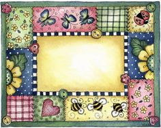 Molduras e Barras - Carla Simons - Picasa Web Albums - flowers, butterflies and bees - frame suitable for stamping or sentiments Arte Country, Country Crafts, Borders For Paper, Borders And Frames, Tole Painting, Fabric Painting, Scrapbook Frames, Arts And Crafts, Paper Crafts