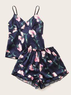 Floral & Leaf Print Satin Cami Pajama Set - Pajama Sets - Ideas of Pajama Sets Cute Pajama Sets, Cute Pajamas, Cute Pjs, Satin Pyjama Set, Satin Pajamas, Pyjamas, Cute Sleepwear, Pajama Outfits, Satin Cami