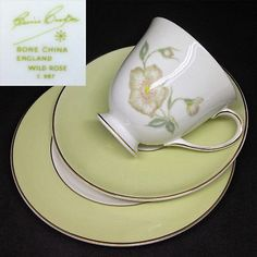 Susie Cooper 1950s Wild Rose C987 English Bone China Trio Set Cup Saucer Plate