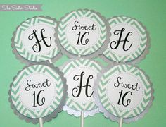 Custom Cupcake Toppers  Sweet 16  Mint Chevron  by TheSisterStudio, $10.00