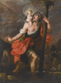"""Saint of the Day – 25 July – Saint Christopher (Died C Martyr and """"Christ-Bearer"""" – Born at Canaan as Offero and martyred in the reign of the Roman Emperor Decius (reigned – A4 Poster, Poster Prints, Saint Christopher, Spanish Painters, Roman Emperor, Vintage Artwork, Roman Catholic, Saints, Pilgrim"""