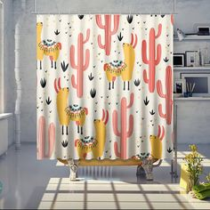 Buy Llama Cactus Shower Curtain This shower curtain is Made To Order, one by one printed so we can control the quality. We use newest DTG Technology to print on to Llama Cactus Shower Curtain Curtains, Kid Bathroom Decor, Tubs And Showers, Kids Curtains, Bathroom, Kids Shower Curtain, Cactus Shower Curtain, Bathroom Decor Luxury, Bathroom Decor