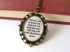 Les Miserables necklace. Quote jewelry. Eponine A Little Fall of Rain lyrics. Long chain. Antique bronze. Musical, movie inspired.