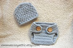 Newborn boy hat and diaper cover set baby boy by emmascozyattic, $40.00