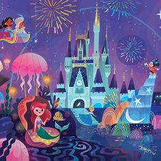 Mural for Disney Tokyo Celebration Hotel by Joey Chou - Closeup # 2 Disney Pixar, Disney Magic, Disney Amor, Film Disney, Disney Dream, Disney Girls, Disney And Dreamworks, Disney Movies, Disney Characters