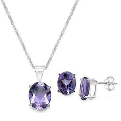 """7.50 Carat Amethyst Oval Shape .925 Sterling Silver Earring & Pendant Set Silvancé. $49.90. .925 Sterling Silver with Rhodium; 100% Natural Gemstone; with 18"""" Sterling Silver Chain"""