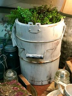 "Old Ice Cream Bucket   Great for a plant in or to put things in on the porch.  14.5"" High x 10"" Diameter  $18  Vintage Affection Dealer #1680  White Elephant Antiques 1026 N. Riverfront Blvd. Dallas, TX 75207Photo"