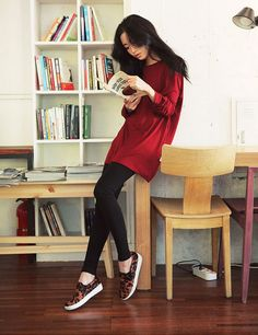 Leggings and a long shirt with slip-on sneakers equal the perfect comfy outfit.