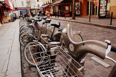 Renting Velib bikes in Paris... http://goparis.about.com/od/gettingaround/ss/Guide-To-Paris-Bikes-Velib.htm