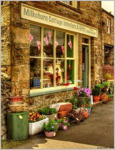 Milkchurn Cottage Interiors & Gifts, Upper Wensleydale.....I'm sure whatever is behind that window is irresistable!