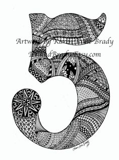ACEO Number Five Zentangle Inspired authorized art print by Karen Anne Brady Zentangle Drawings, Doodles Zentangles, Doodle Drawings, Tangle Doodle, Zen Doodle, Doodle Art, Doodle Patterns, Zentangle Patterns, Doodle Lettering