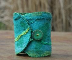 Turquoise Felted Wrist Cuff