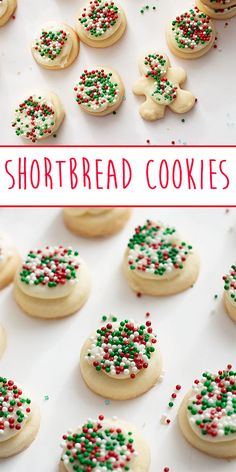 Buttery, delicious traditional shortbread cookies with a creamy almond buttercream. Melt In Your Mouth, Shortbread Cookies, Holiday Baking, Sprinkles, Almond, Traditional, Desserts, Christmas, Recipes