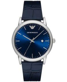 Emporio Armani Men's Luigi Blue Leather Strap Watch 43mm AR2501 | macys.com