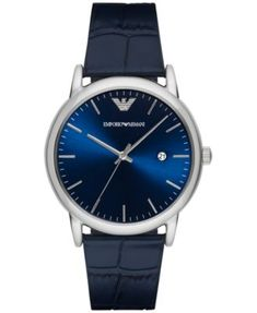 Emporio Armani Men's Luigi Blue Leather Strap Watch 43mm AR2501 | macys.com