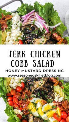Cobb Salad Dressing, Chicken Salad Dressing, Salad Recipes, Healthy Recipes, Healthy Meals, Cooking Recipes, Recipe Using Chicken, Chicken Recipes, Jamacian Jerk Chicken