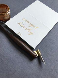 Gold and cream calligraphy place card- rehearsal dinner, wedding, bridal shower #gold #wedding #placecard #escortcard #weddingnamecard #customcalligraphy #goldplacecard #fallwedding