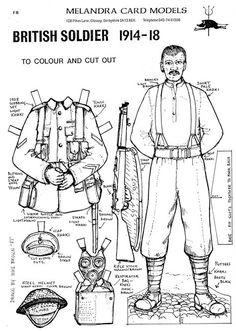 Soldier of World War One - card model Ww1 History, History Class, Teaching History, World History, History Teachers, Military History, Ww1 Soldiers, Wwi, World War One