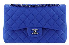 #chanel #classicflapbag #blue Chanel Jersey Classic Flap Bag