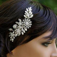Bridal Hair Comb Leaves Headpiece Vintage Wedding Comb Rhinestone Wedding Hair Accessories Leaves Headpiece IVY on Etsy, $95.00
