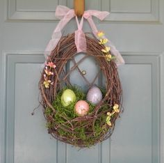 Easter is not too far away. You can decorate for in many ways. There are amazing diy decoration ideas, but what without Easter wreath. Let's decorate your home for Easter, beginning from front door.The wreaths will decorate your front door and will bring the happiness and joy in your home. Grapevine Easter Wreath Buy it here: www.etsy.com Bunny Wreath You can buy it on etsy.com Little Chicks Easter Wreath souce Rustic Easter Wreath Full tutorial on awalkinthecountryside.blogspot.com Nest…