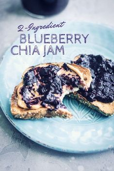 This delicious, easy, sugar-free blueberry chia jam is ready in 10 minutes with just 2 ingredients. Make some today and try it on PB & J toast!