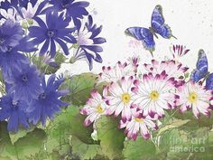 Washy Watercolor Painting - Florals And Butterflies-jp3831 by Jean Plout