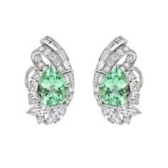 raymond c. yard mint tourmaline & diamond earclips
