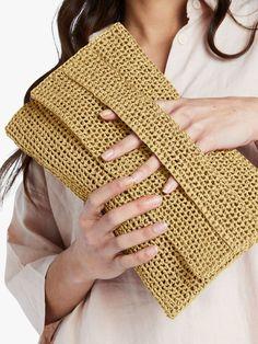 Crochet Clutch Bags, Crochet Handbags, Crochet Bags, Crochet Clutch Pattern, Clutch Bag Pattern, Easy Crochet, Crochet Hooks, Knit Crochet, Knitting Kits