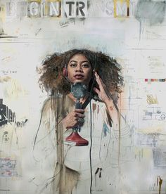 Tim Okamura is a artist who draws portraits of African-American women representing them in a strong pose. Artist Paint, Mixed Media Canvas, African American Women, Colorful Portrait, Portraiture, Female Art, Tim Okamura, Portrait, Black Women Art