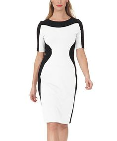 Take a look at this Ivory & Black Dress by NUE by Shani on #zulily today!