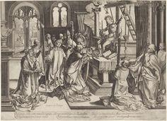 Simon Frisius | Gregoriusmis, Simon Frisius, 1595 - 1628 | Heilige Gregorius bidt op zijn knieën, terwijl Christus en de passiewerktuigen boven het altaar verschijnen.