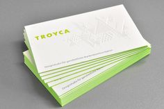 Troyca Business cards - green edges, textured blind emboss