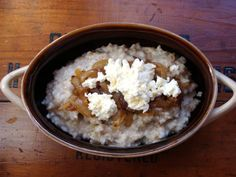 steel cut oats with caramelized onions & ricotta - In Jennie's Kitchen