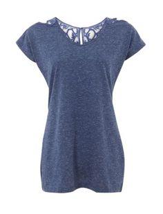 Blue Crochet Back T-Shirt