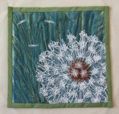 """Dandelion Collection 12"""" x 12"""" Free machine embroidery, dissolvables, heat treated organza."""