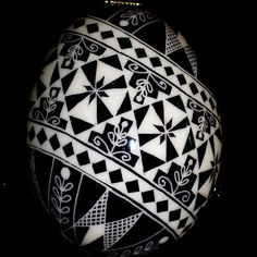 Ukrainian  black and white Pysanky Egg