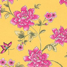 Cotton 100% Satin Weave Bedding Cloth Fabric Luxury Orierntal Floral Yellow 44'w in Crafts, Sewing & Fabric, Fabric | eBay