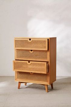 Marte Tall Dresser Boho minimalism just how we like, our Marte tall dresser features a stacked construction with rattan detailing. Cane Furniture, Rattan Furniture, Barbie Furniture, Furniture Decor, Furniture Design, Furniture Legs, Garden Furniture, Apartment Furniture, Retro Furniture